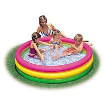 Детский надувной бассейн Intex 57422-1 «Цвета заката», с шариками 10 шт,147 х 33 см  Надувное дно, фото 3