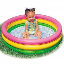 Детский надувной бассейн Intex 57412-1 «Радужный», с шариками 10 шт, 114 х 25 см, фото 2