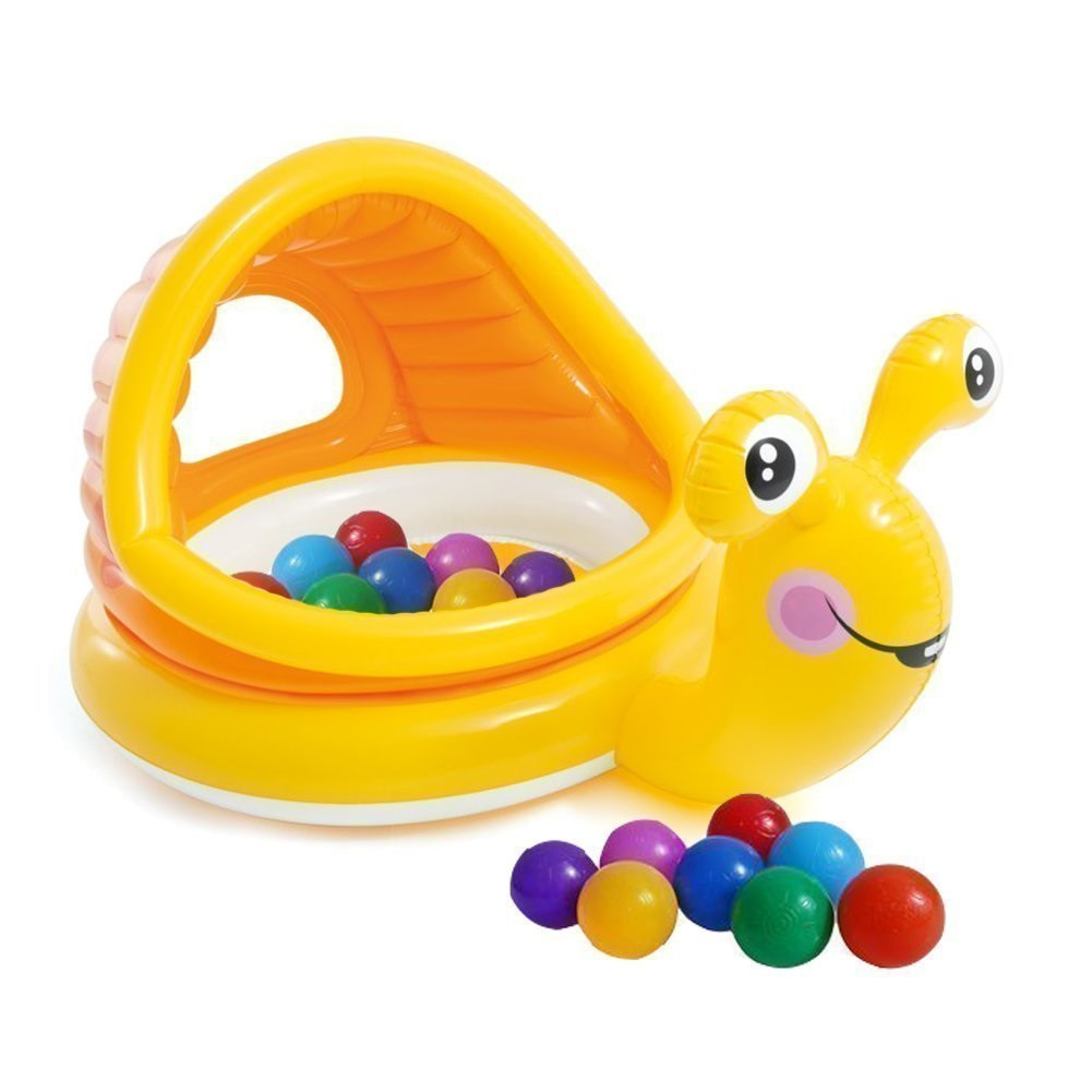 Детский надувной бассейн Intex 57124-1 «Улитка» с навесом, с шариками 10 шт 145 х 102 х 74 см Надувное дно