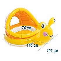 Детский надувной бассейн Intex 57124-1 «Улитка» с навесом, с шариками 10 шт 145 х 102 х 74 см Надувное дно, фото 3
