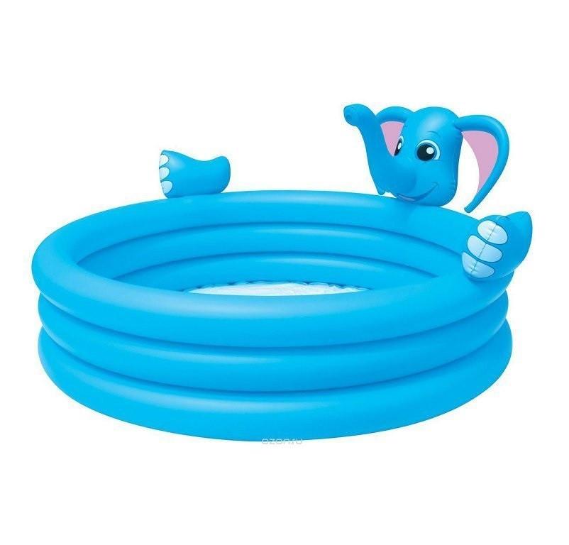 Детский надувной бассейн BestWay 53048 «Слоник» с фонтаном, 152 х 152 х 74 см