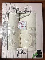Полотенца банные бамбук комплект 50х90 и 70х140 цвет белый