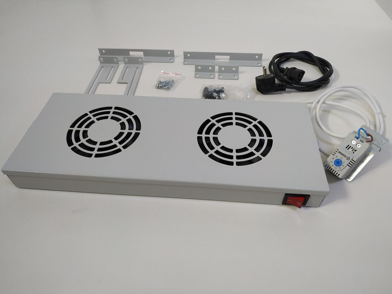 Вентиляторная панель с термостатом и выключателем Digitus dn-19 fan-2-ho  (RAL 7035)