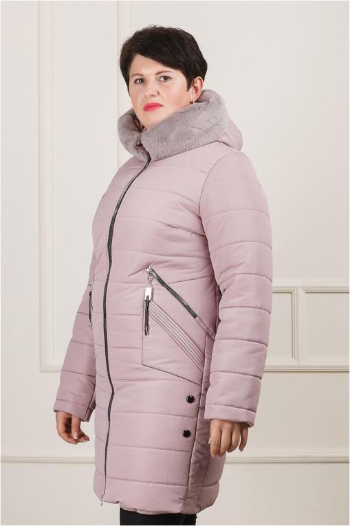 Женская зимняя куртка Джули больших размеров пудра
