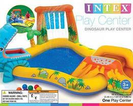 Детский надувной центр Intex 57444 «Динозавры», 249 х 191 х 109 см, с горкой для спуска, фонтаном и шариками , фото 3