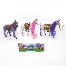"""Лошадь-единорог 826 """"В мире животных"""" 9"""" флок., 4в., кул., ш.к. /144/"""