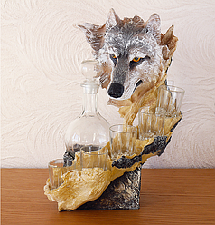 Штоф волк 37 см ШП402 цв