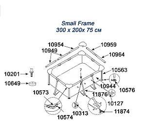 Соединитель Intex 10573-4 для стоек и прогонов бассейнов Small Frame Количество 4 шт. , фото 2