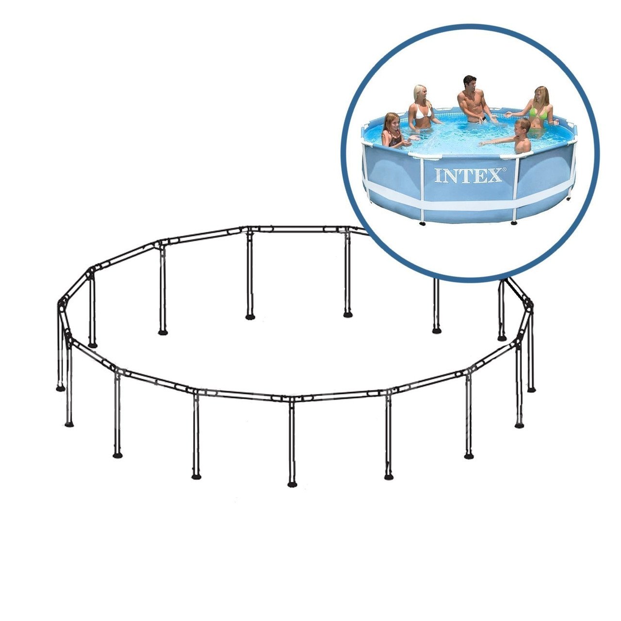 Каркас Intex 88700 для бассейнов Prism Frame 28700. Размер 305 х 76 см
