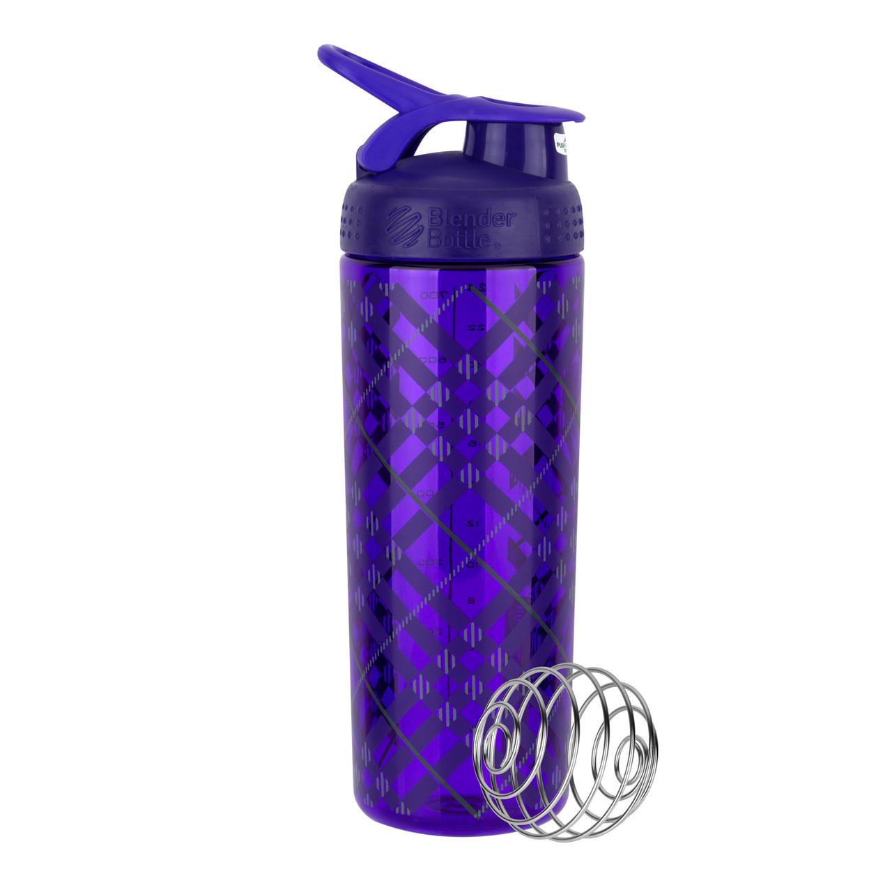 Спортивная бутылка-шейкер BlenderBottle SportMixer Signature Sleek PURPLE TRATAN PLAID 820мл (ORIGINAL)