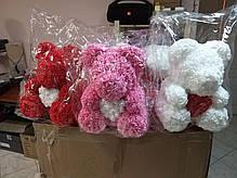 Мишка из 3D роз цвет шампань Оригинальный с Сердцем Teddy de Luxe 750 шт роз высота 40 см + Парфюм в подарок , фото 2