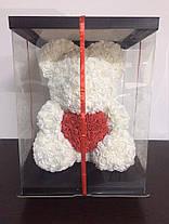 Мишка из 3D роз цвет шампань Оригинальный с Сердцем Teddy de Luxe 750 шт роз высота 40 см + Парфюм в подарок , фото 3