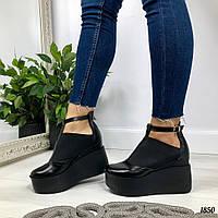 Женские кожаные туфли чёрные  на платформе    Украина  ELLA
