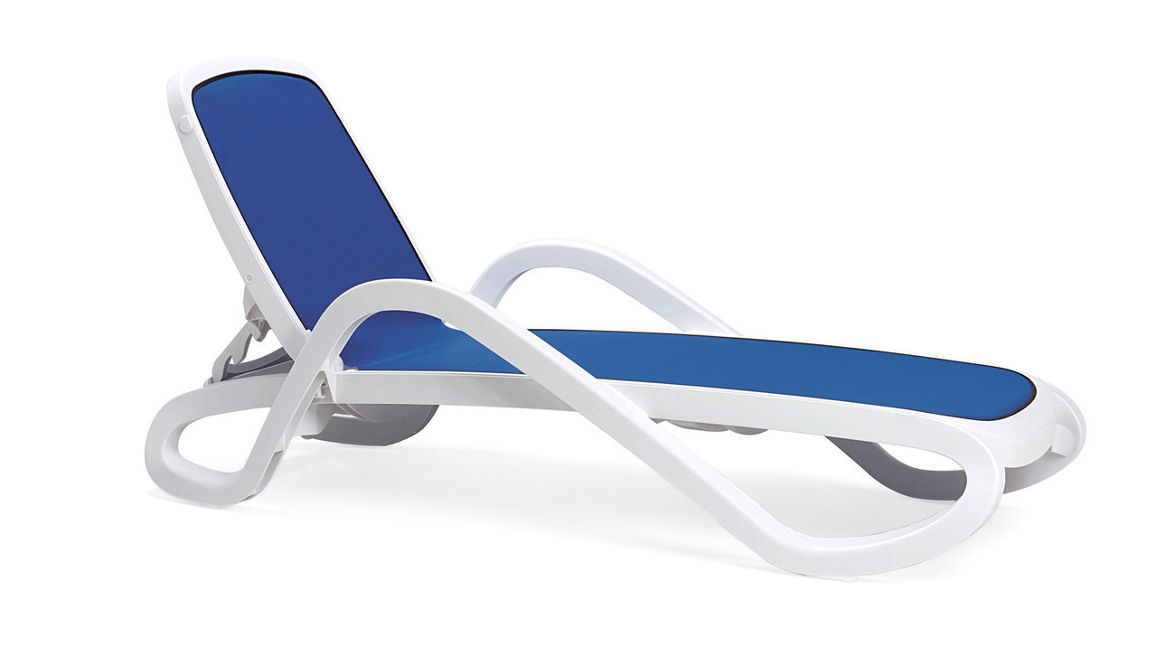 Пляжный Лежак Alfa Bianco Blue Производство Италия Белый + синий