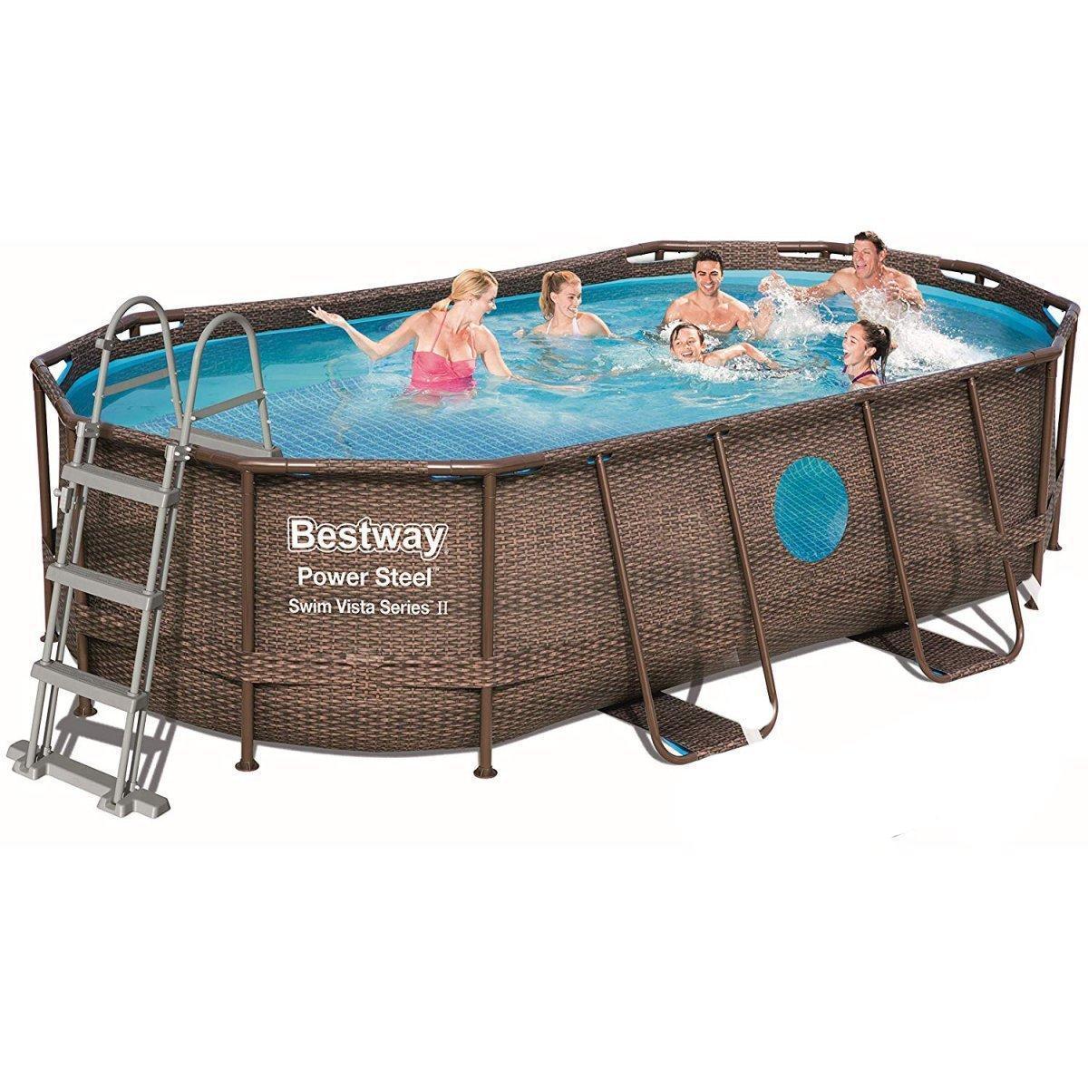 Каркасный бассейн Bestway 56714 - 1, 427 х 250 х 100 см (лестница, тент, подстилка)