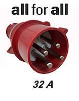 Вилка трехфазная  32А-6ч/380/415В 3Р+  PE-3264-SV, фото 1