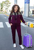 Костюм спортивный женский модный стильный теплый трехнитка с начесом + меховой леопард Турция супер батал