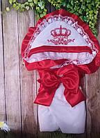 Велюровый конверт на выписку с итальянским кружевом, вышивкой и рюшами Корона для девочек, фото 1
