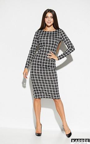 Демисезонное платье миди в обтяжку в клетку цвет темно-серый