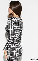 Демисезонное платье миди в обтяжку в клетку цвет темно-серый, фото 2