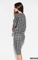 Демисезонное платье миди в обтяжку в клетку цвет темно-серый, фото 3