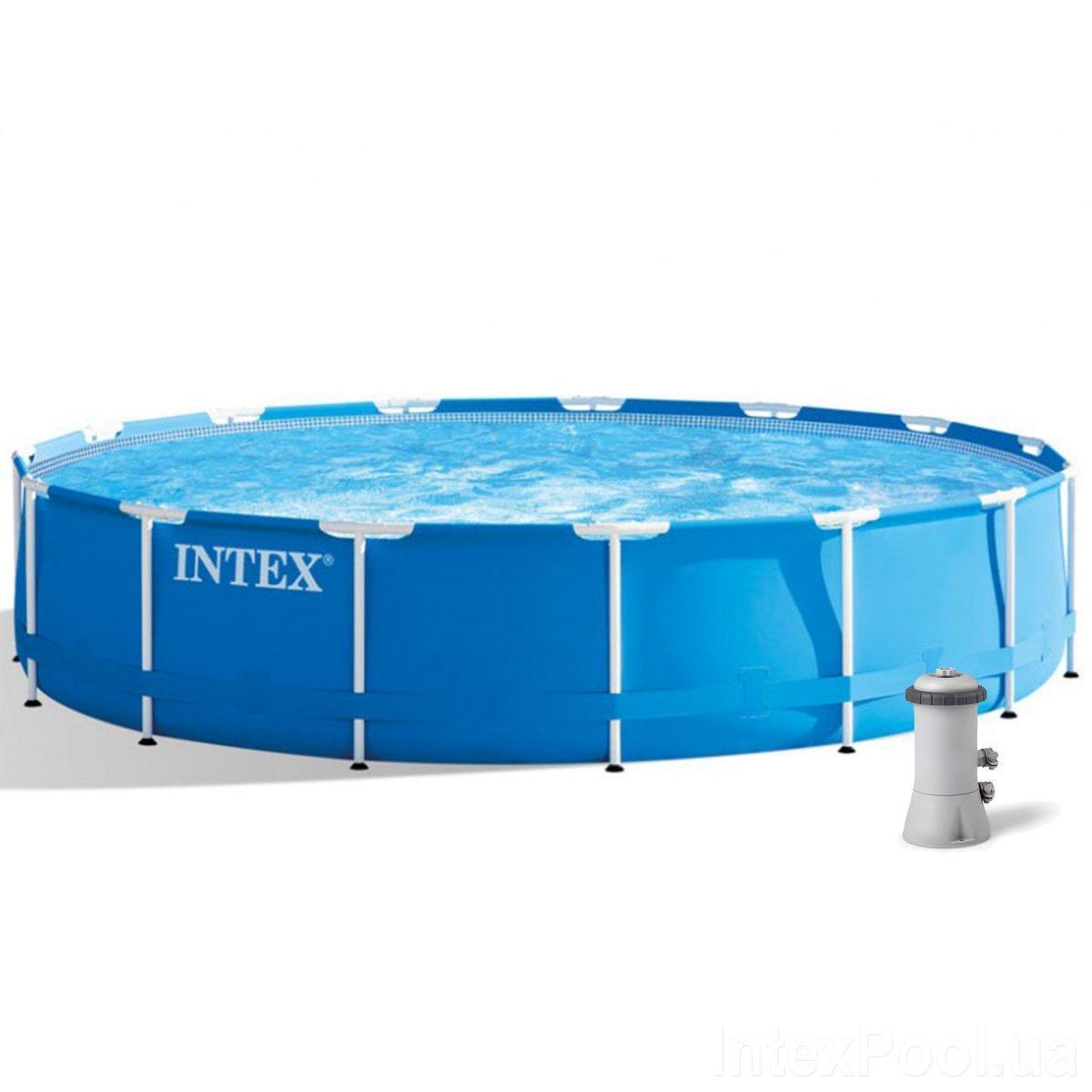 Каркасный бассейн Intex 28240, 457 х 84 см (2 006 л/ч, лестница, тент, подстилка)