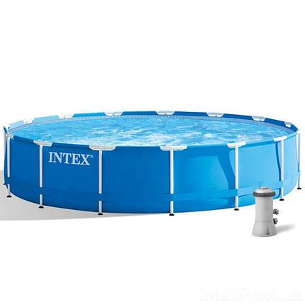 Каркасный бассейн Intex 28240, 457 х 84 см (2 006 л/ч, лестница, тент, подстилка) , фото 2
