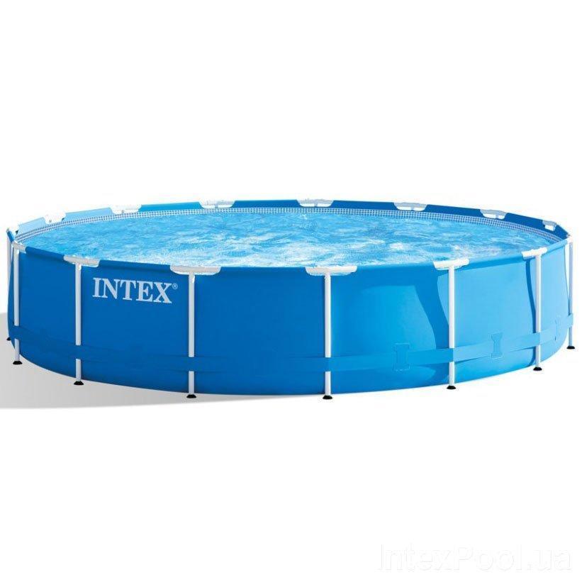 Каркасный бассейн Intex 28240 - 1, 457 х 84 см (лестница, тент, подстилка)