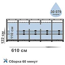 Каркасный бассейн Intex 26334, 610 х 122 см (10 000 л/ч, лестница, тент, подстилка) , фото 2
