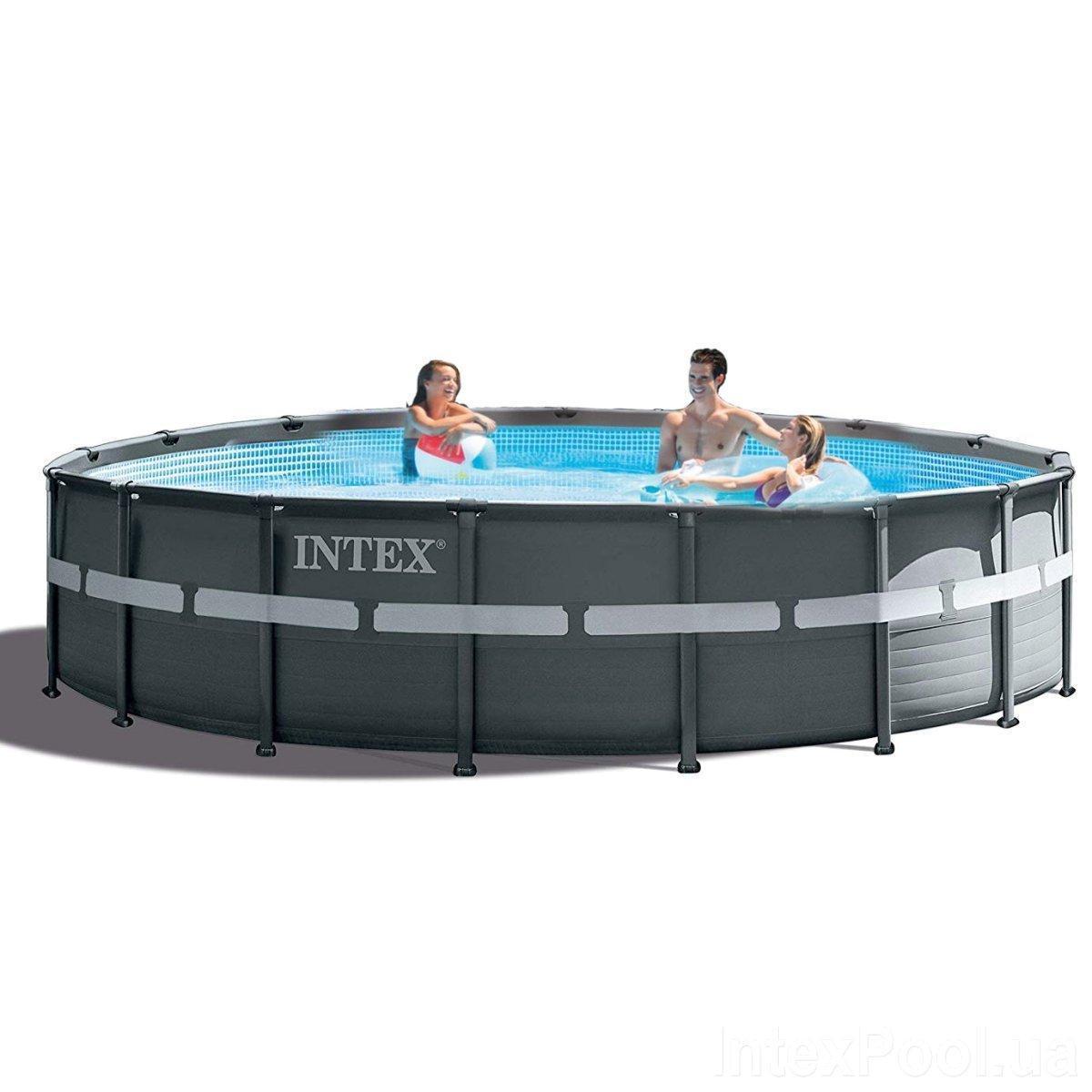 Каркасный бассейн Intex 26326-1, 488 x 122 см (лестница, тент, подстилка)