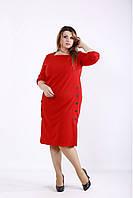 | Красивое красное платье до колена большого размера 42-74. 01257-2