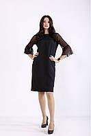 Черное прямое платье с сеткой на рукавах большого рахмера 42-74.01264-1