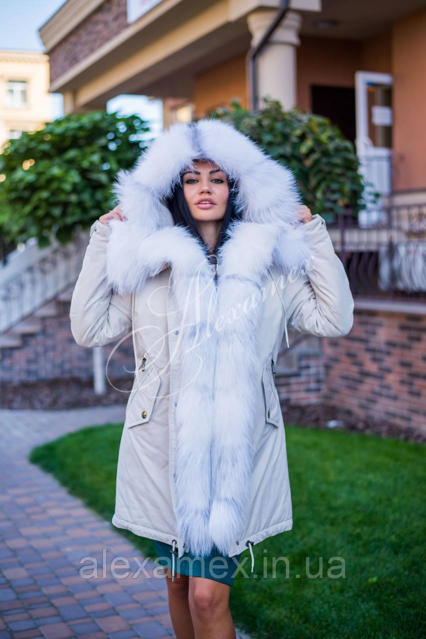 Зимняя парка с натуральным мехом арктической лисы