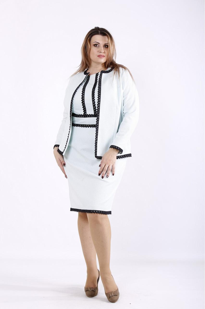 Нарядный костюм женский классический: платье и жакет мята большого размера 42-74. 01267-2