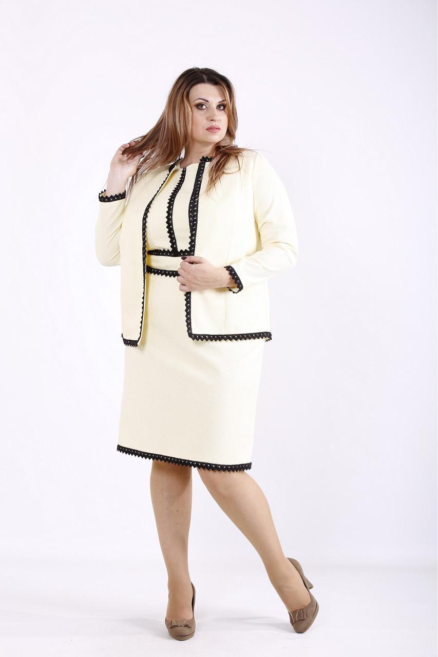 Желтый нарядный костюм: платье и жакет большого размера 42-74.01276-3