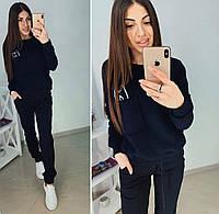 Тёплый женский спортивный костюм Кот брюки штаны и кофта свитшот на флисе чёрный 42 44 46 48