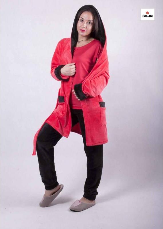 теплый комплект тройка халат с пижамой