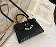 Сумка в стиле Эрмес Келли 20см / фурнитура серебро фактура крокодил / PU-кожа Черный, фото 5