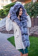 Зимняя парка с натуральным мехом чернобурки, фото 1