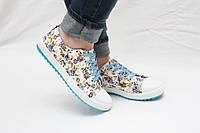 Распродажа!!! Кеды в цветочек голубые , стильные кеды, 35 размер