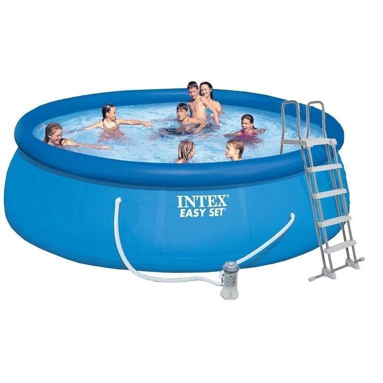 Надувной бассейн Intex 26168, 457 х 122 см ( насос-фильтр 3 785 л/ч, лестница, тент, подстилка)