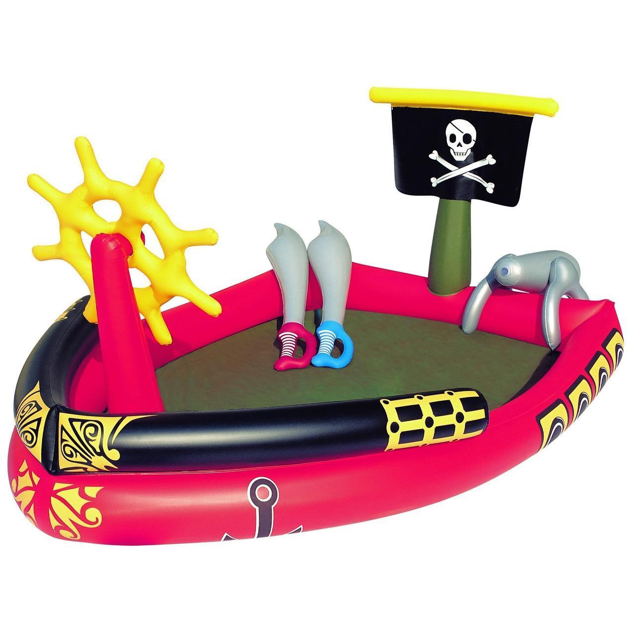 Надувной игровой центр Bestway 53041 «Пиратский корабль», 190 х 140 х 96 см,  с надувными мечами и водной пушк