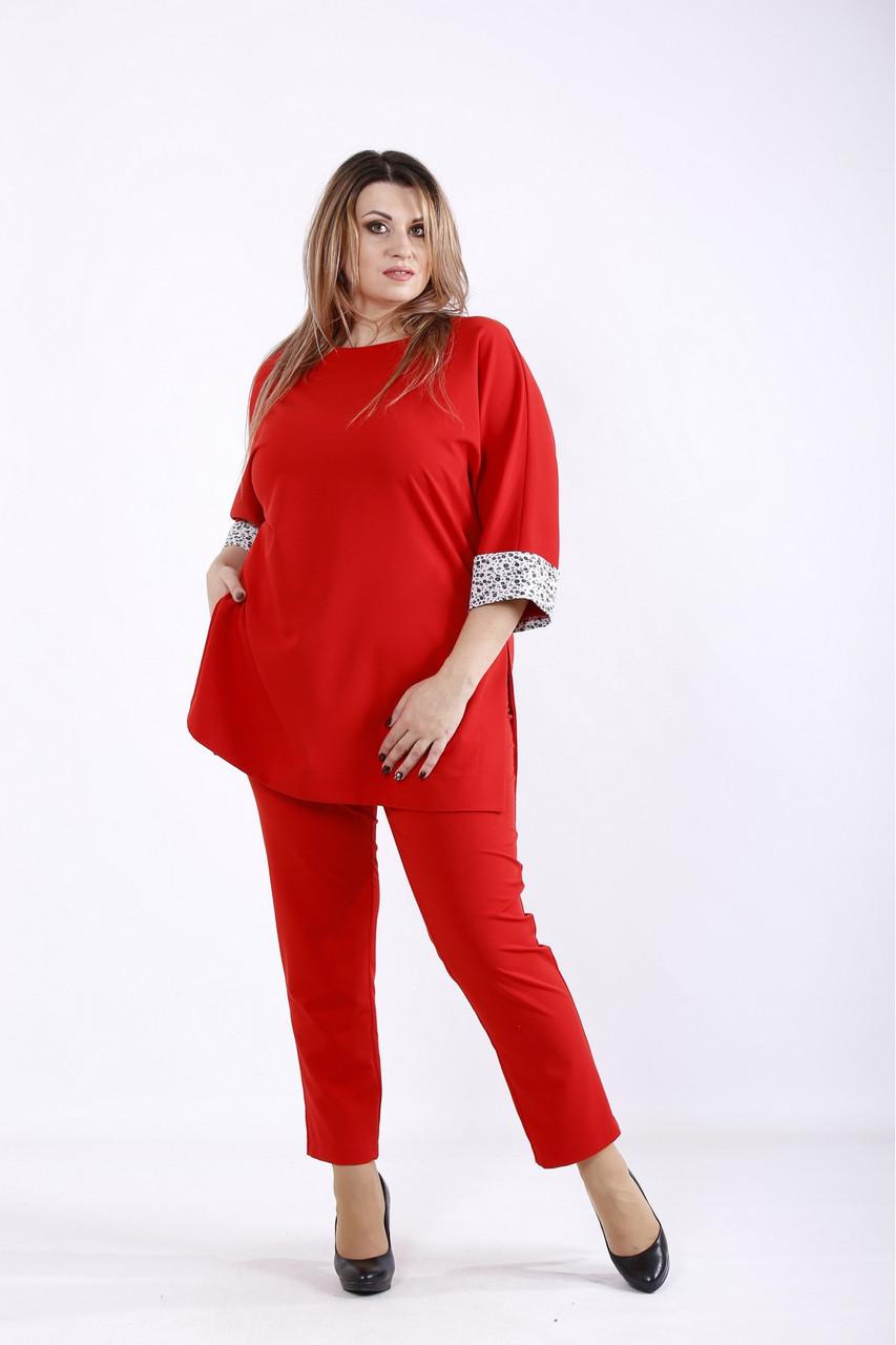 01254-2 | Красный костюм: брюки и туника большого размера 42-74.