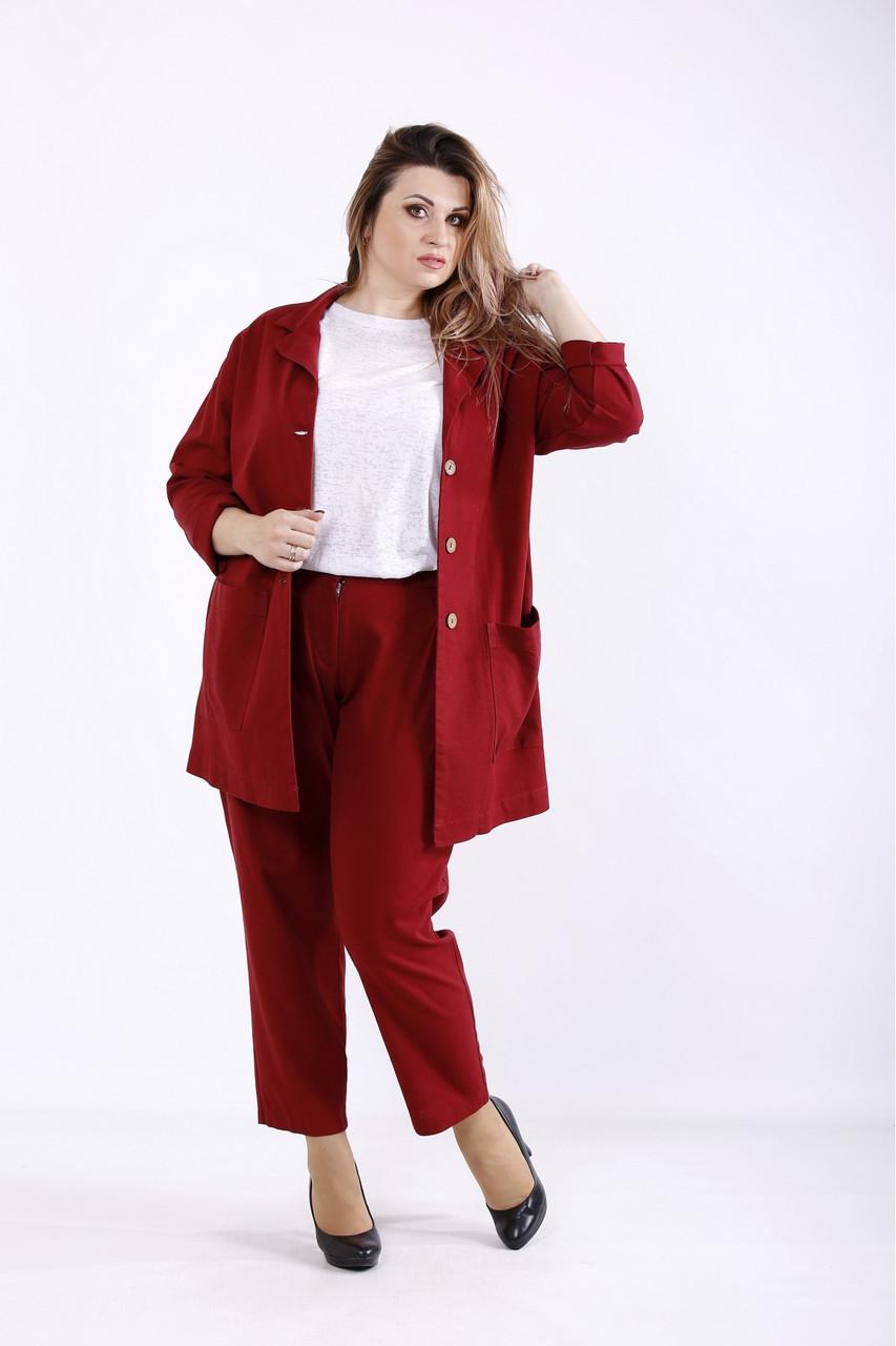 бордовий костюм: брюки і піджак великого розміру 42-74. 01270.
