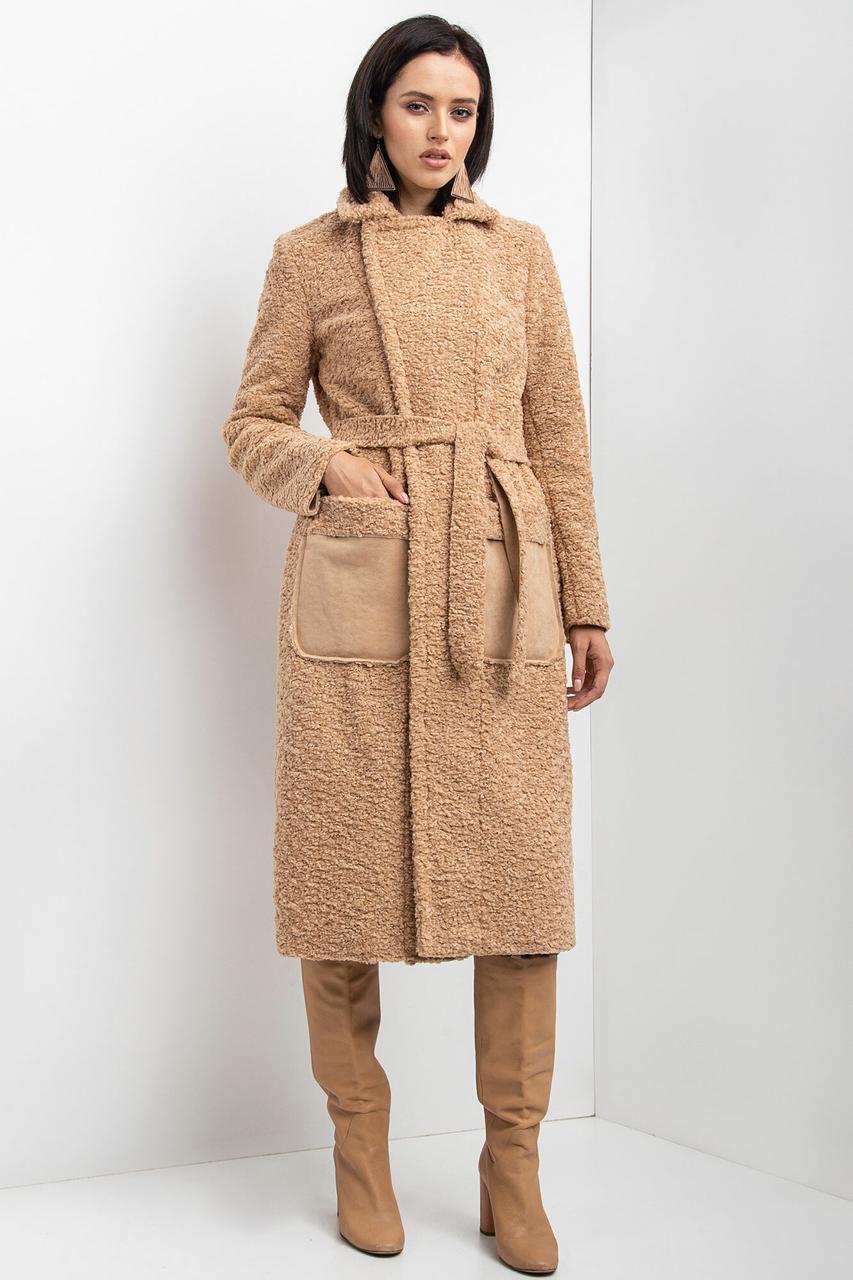 Бежевое меховое пальто на осень HELENA без застежек с большими карманами