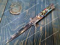 Нож стилет выкидной 14072 D-1 Tiger Skull