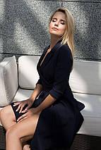 Деловое платье выше колен рукав три четверти  цвет темно-синий, фото 3