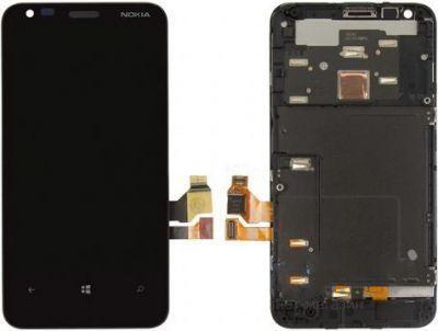 Дисплей (экран) для телефона Nokia Lumia 620 RM-846 + Touchscreen with frame (original) Black