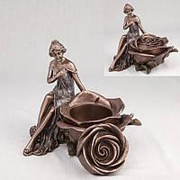 Подсвечник Veronese Девушка и роза 15 см 10197