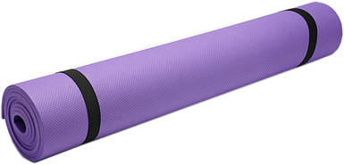Коврик для фитнеса, йогамат (MS 0380-2) EVA 173-61 см. Фиолетовый 5 мм.